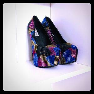 Steve Madden Glam Platform Jewel Stud Heels